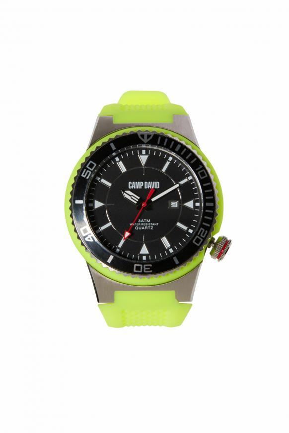 Uhr mit Tauchlünette und Silikonarmband green