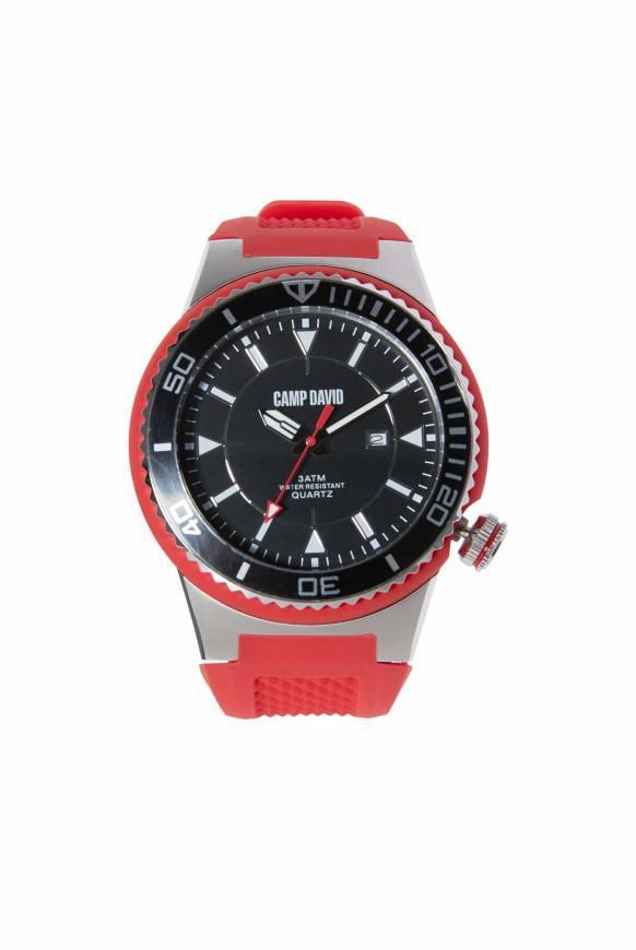 Uhr mit Tauchlünette und Silikonarmband red