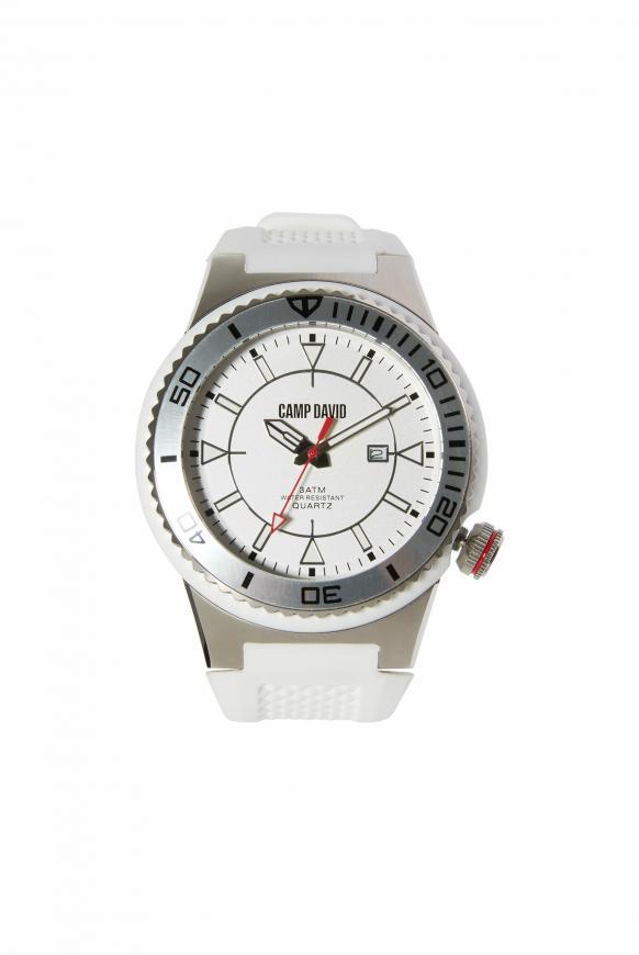 Uhr mit Tauchlünette und Silikonarmband white