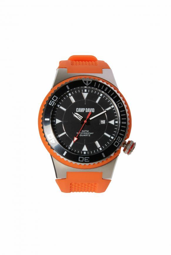 Uhr mit Tauchlünette und Silikonarmband orange