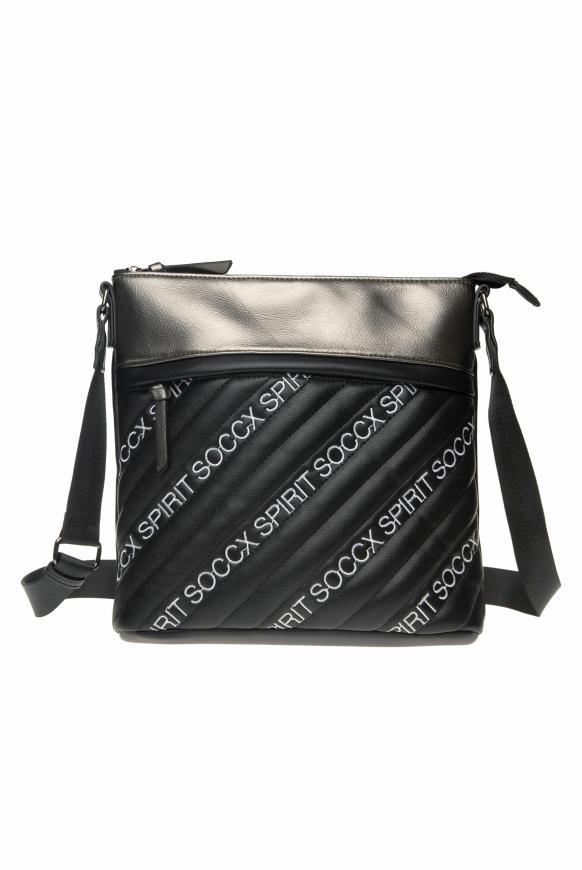 Umhängetasche mit Stepp-Front und Logos black