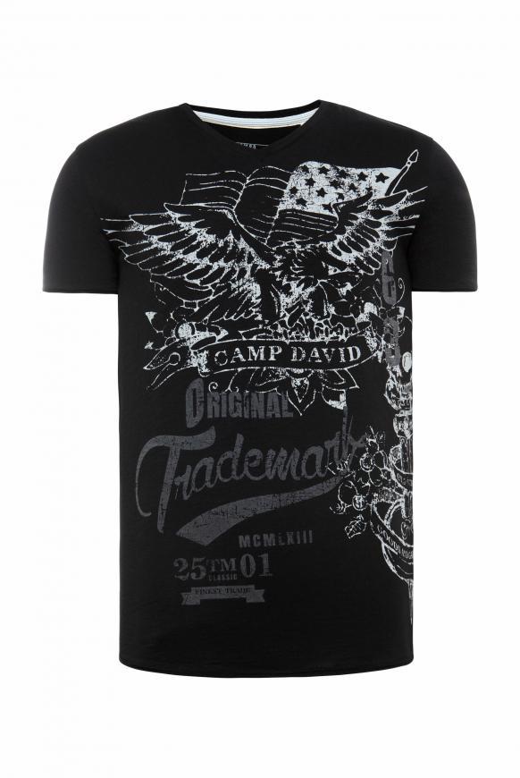V-Shirt aus Slub Yarn mit Vintage Print black
