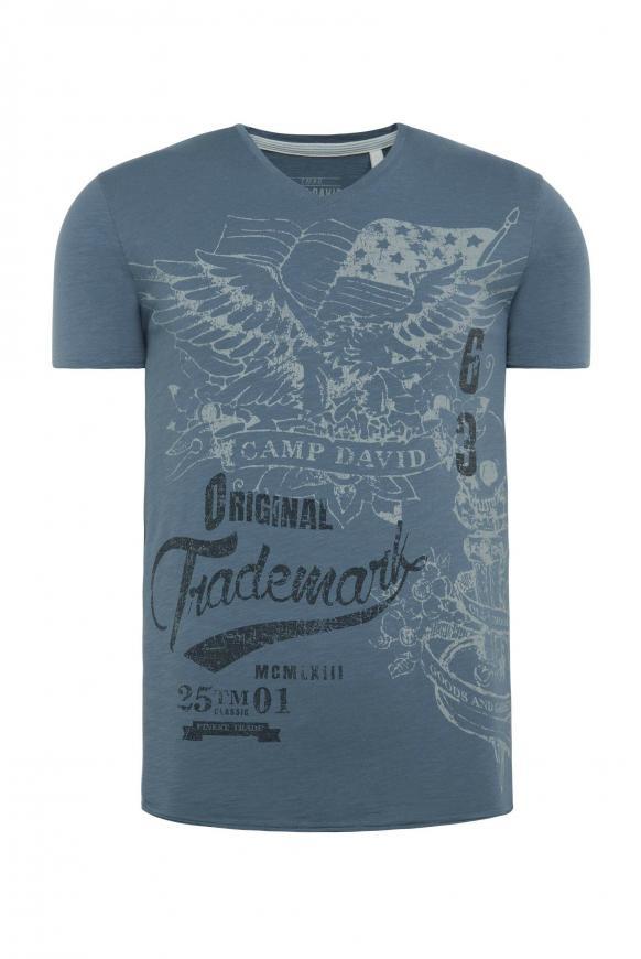 V-Shirt aus Slub Yarn mit Vintage Print cliff grey