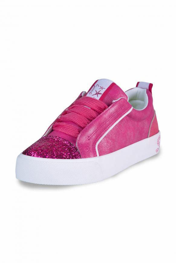 Veganer Plateau-Sneaker mit Glitterkappe neon magenta