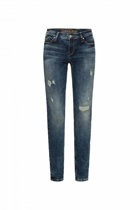 Vintage Jeans HE:DI mit Destroy-Effekten, Slim Fit old blue destroy