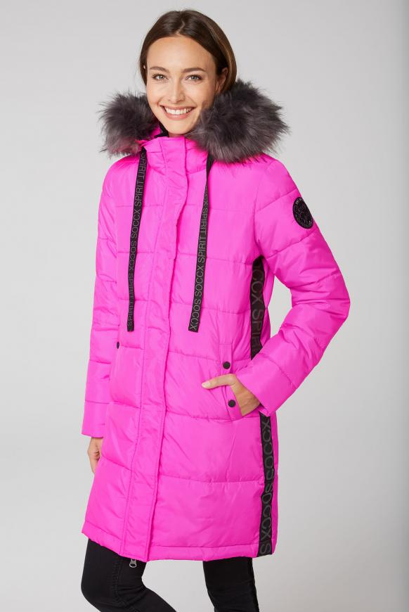 Winter-Parka mit Kapuze und Logo-Tape electric magenta
