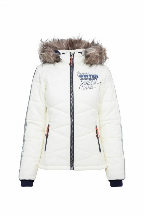 Winterjacke im Ski-Look mit Kontrastkapuze snow white
