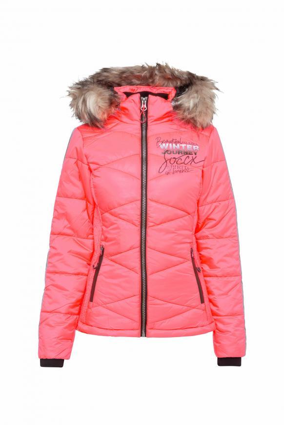 Winterjacke im Ski-Look mit Kontrastkapuze flashy red