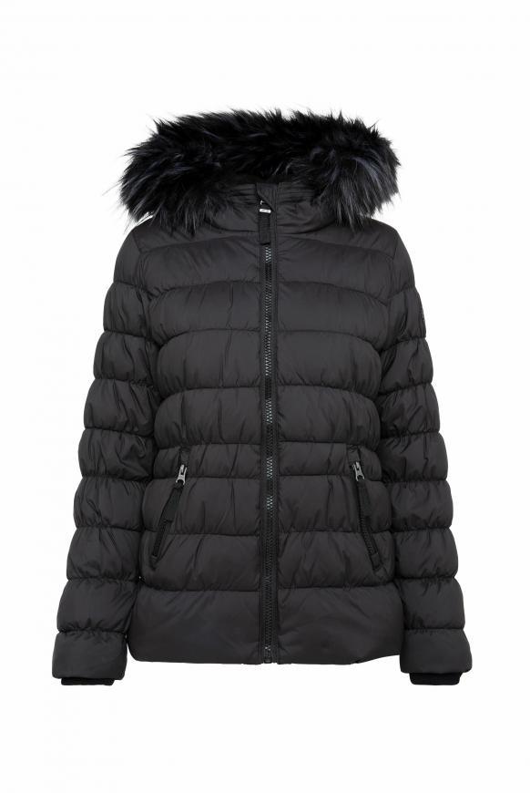 Winterjacke mit gesmokten Nähten und Fake Fur black