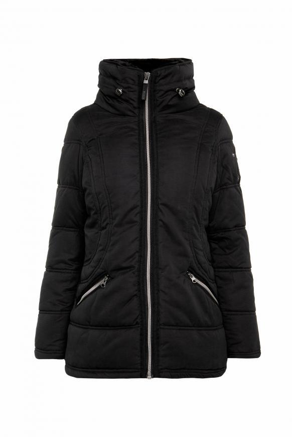 Winterjacke mit Struktur und Doppelkragen black