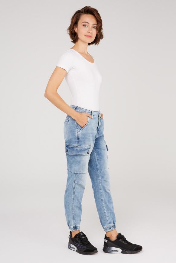 Cargo Jeans CAR:LA aus Sweatmaterial