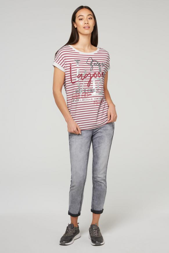 Gestreiftes T-Shirt mit Wording Print
