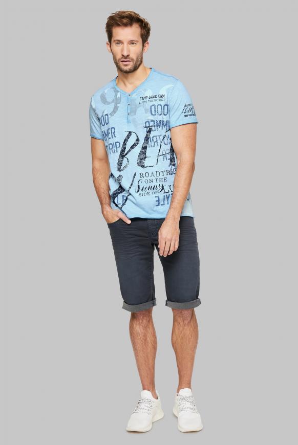 Henley-Shirt mit Used Prints