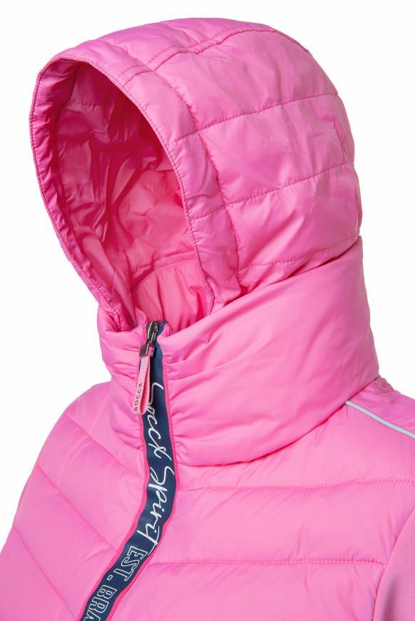 Jacke im Materialmix mit Kapuze