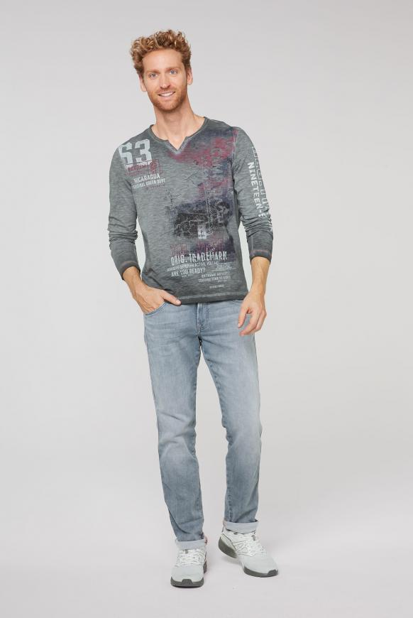 Langarmshirt mit Used-Färbung und Prints