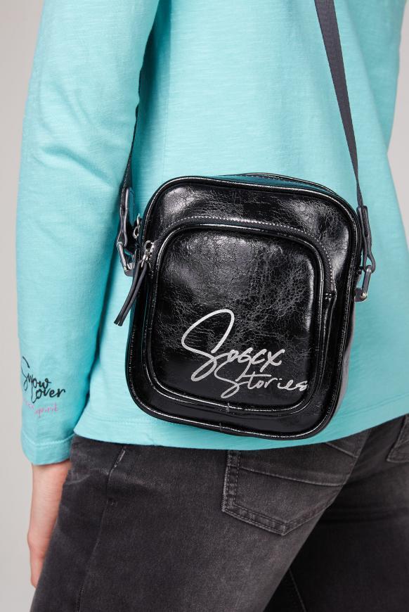 Minibag aus Kunstleder mit Logo Print