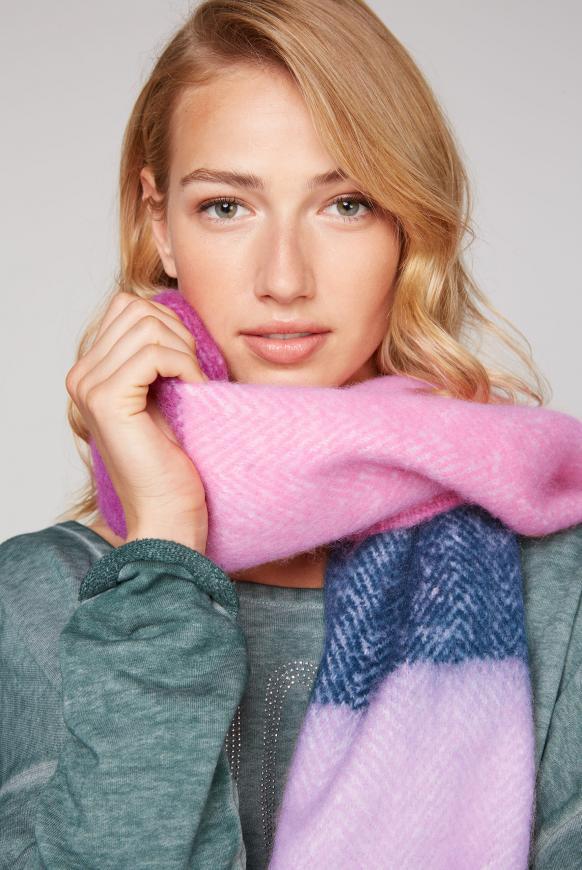 Multicolour Schal mit Fransen