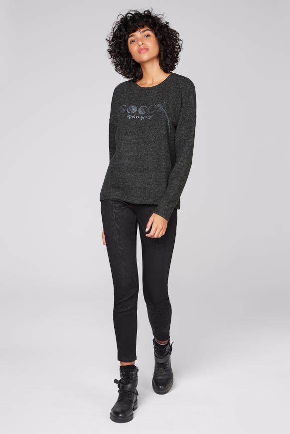 Pullover Melange mit Glitter Logo