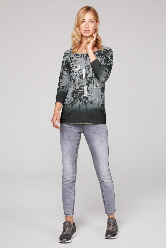 Pullover mit All Over Print und Pailletten