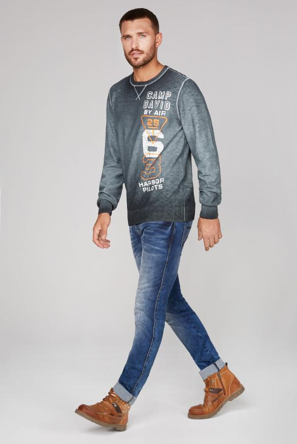 Pullover mit Prints und Used Look