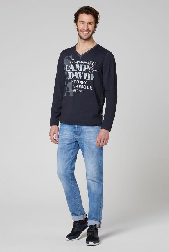 Pullover mit V-Neck und Watercolour Print