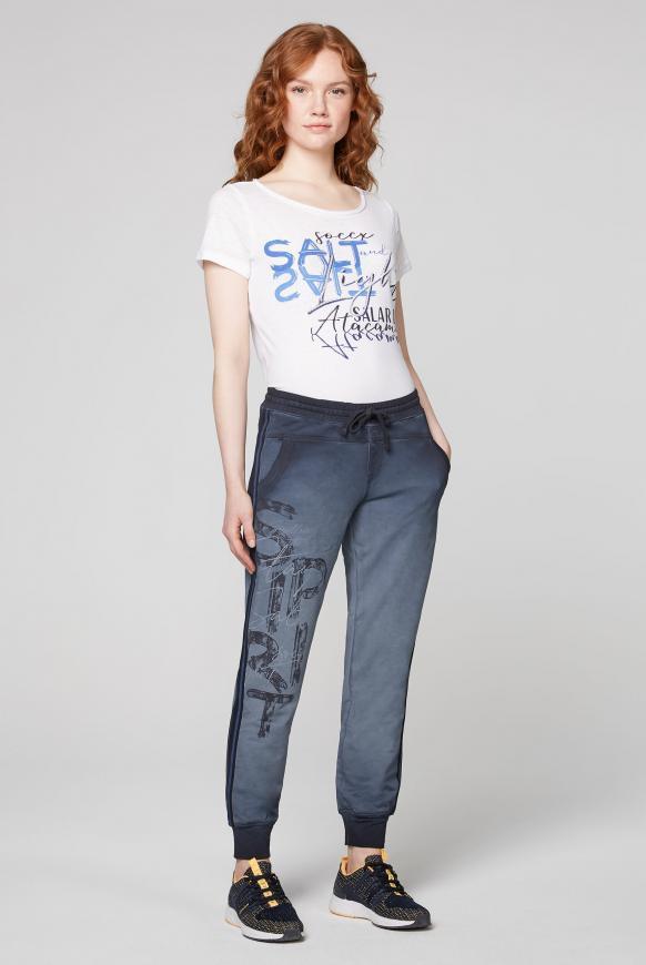 Sweatpants mit Seitentapes und Print