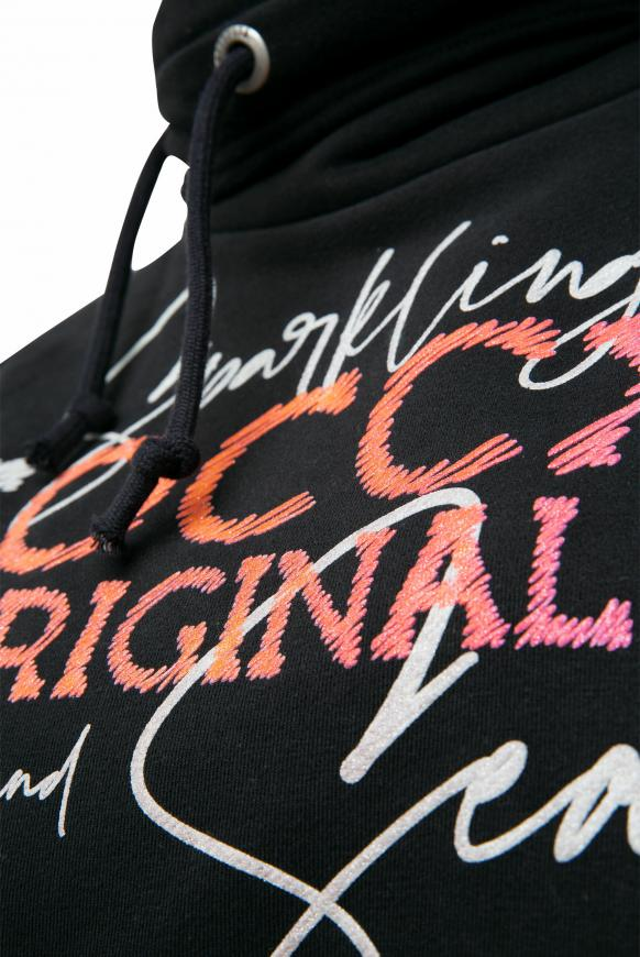 Sweatshirt mit hohem Kragen und Puff Print