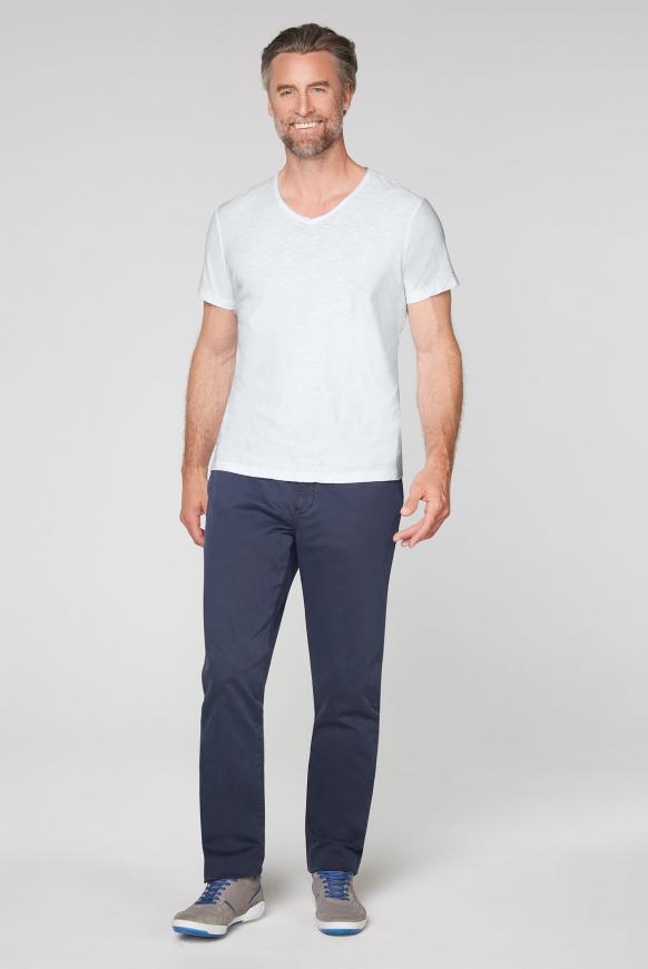 T-Shirt aus Flammgarn mit V-Ausschnitt