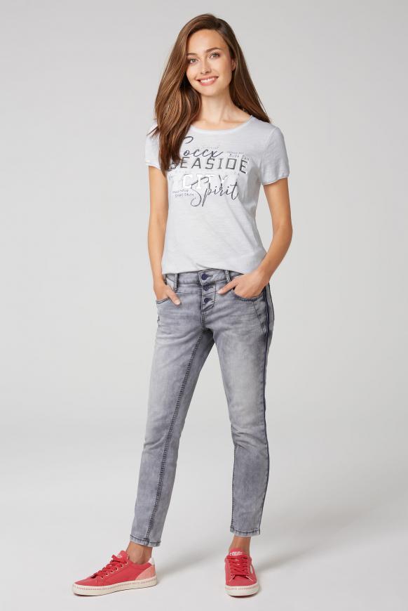 T-Shirt mit 3D-Artwork und Used-Kanten