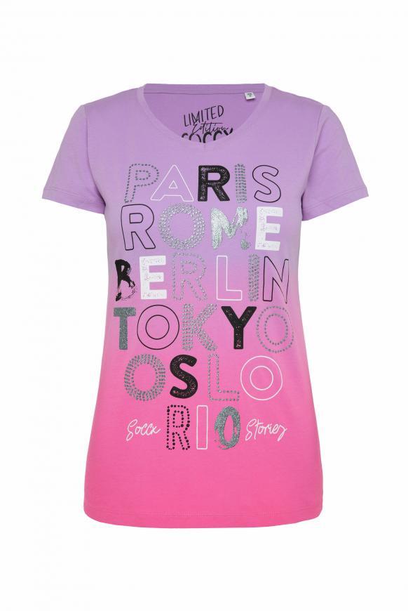T-Shirt mit Farbverlauf und Print-Artwork