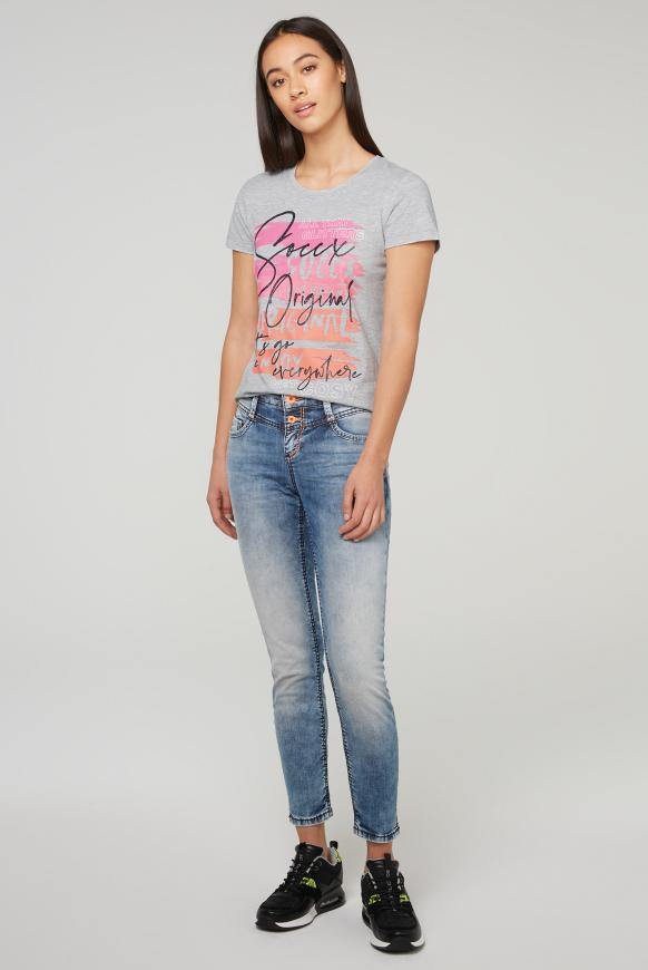 T-Shirt mit Neon Glitter Print