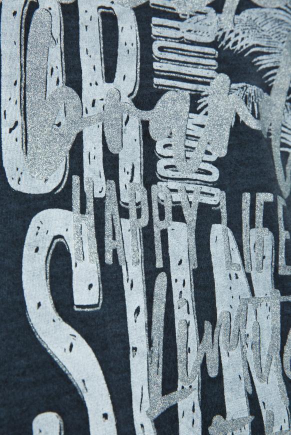 T-Shirt mit Used-Optik und Glitter Print