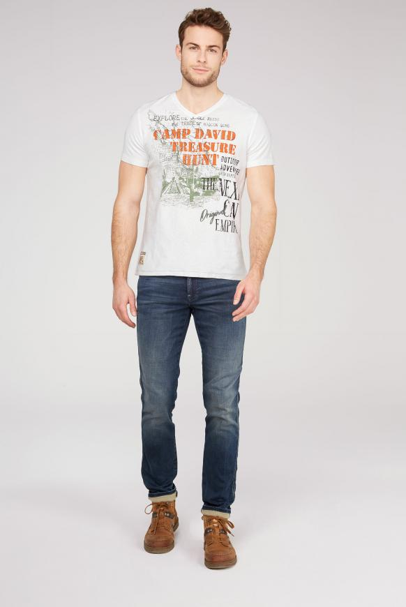 T-Shirt mit V-Neck und Artworks