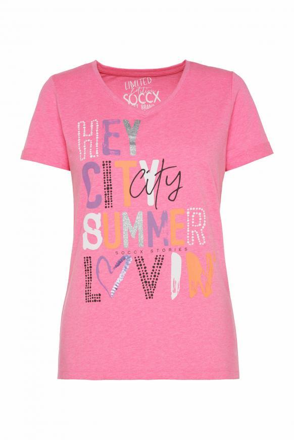 T-Shirt mit V-Neck und Wording Print