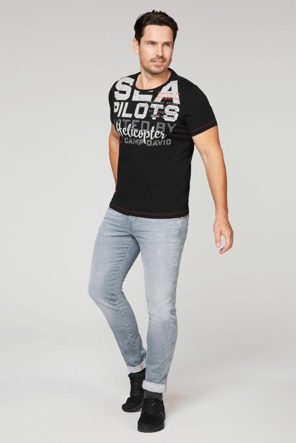 T-Shirt mit Wording Print und Stickereien