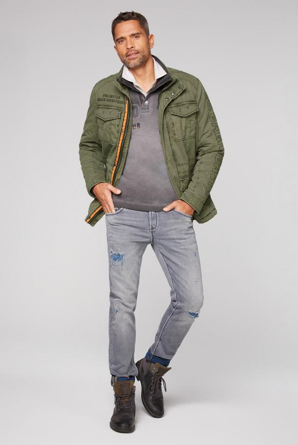 Wattierte Jacke mit Label-Applikationen