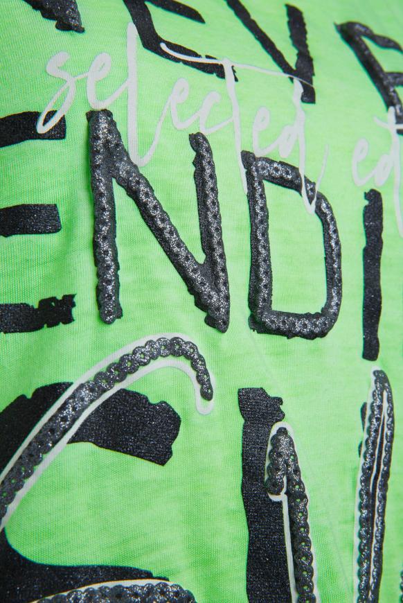 Ausbrenner-Shirt mit Knotensaum und Print
