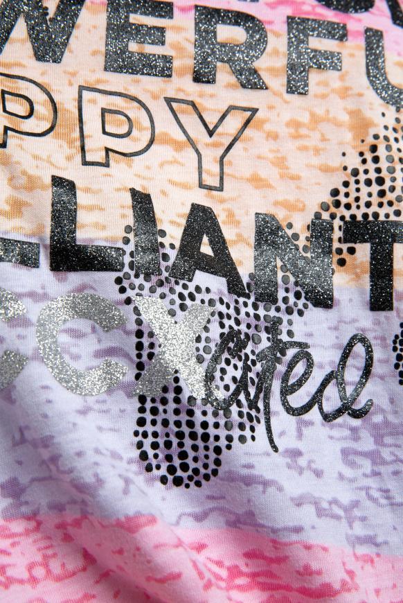 Gestreiftes Ausbrenner-Shirt mit Glitter Artwork