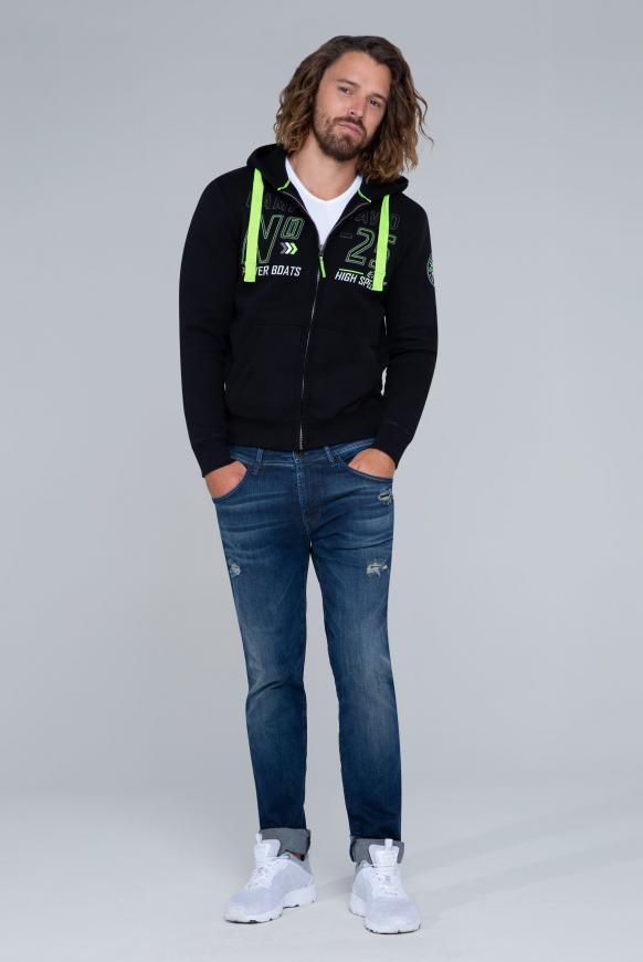 Hoodie Jacket mit Label-Applikationen