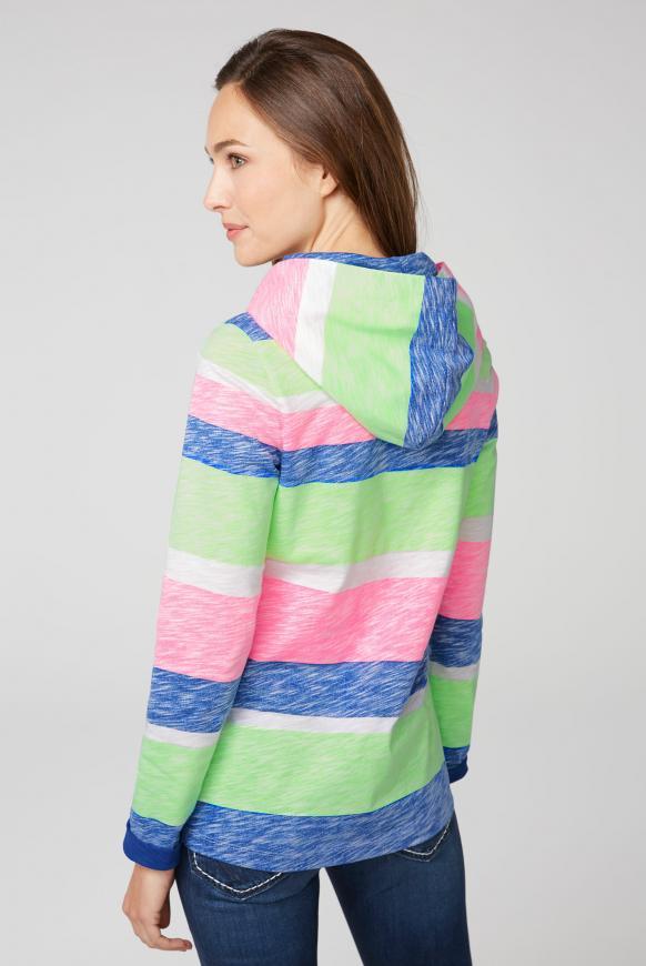 Kapuzenshirt mit bunten Streifen und Artwork