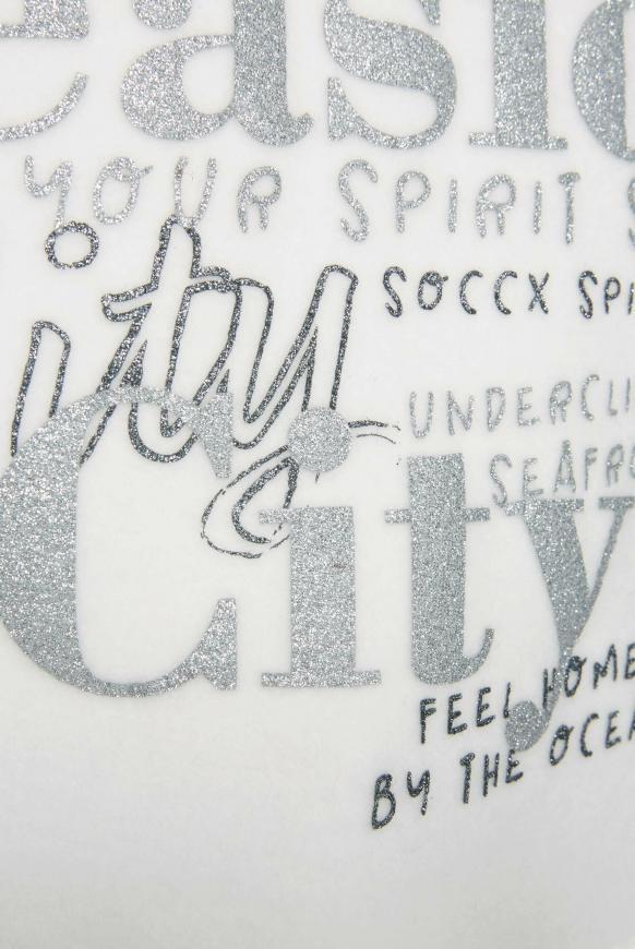 Kurzärmliger Strick-Hoodie mit Glitter Print