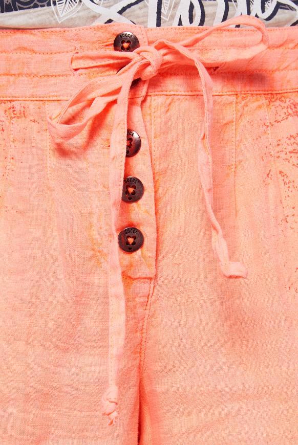 Leinenhose mit Print und Knopfleiste