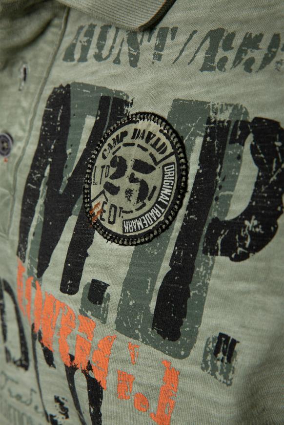 Poloshirt aus Flammgarn mit Artworks