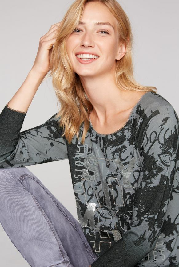 Pullover mit All Over Print und Pailletten