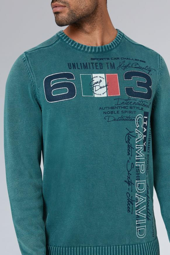 Stone Washed Pullover mit Label Print
