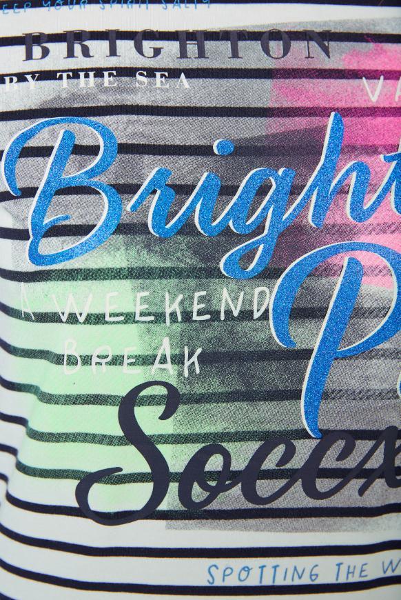Streifenshirt mit Glitter Print und 3/4-Ärmeln