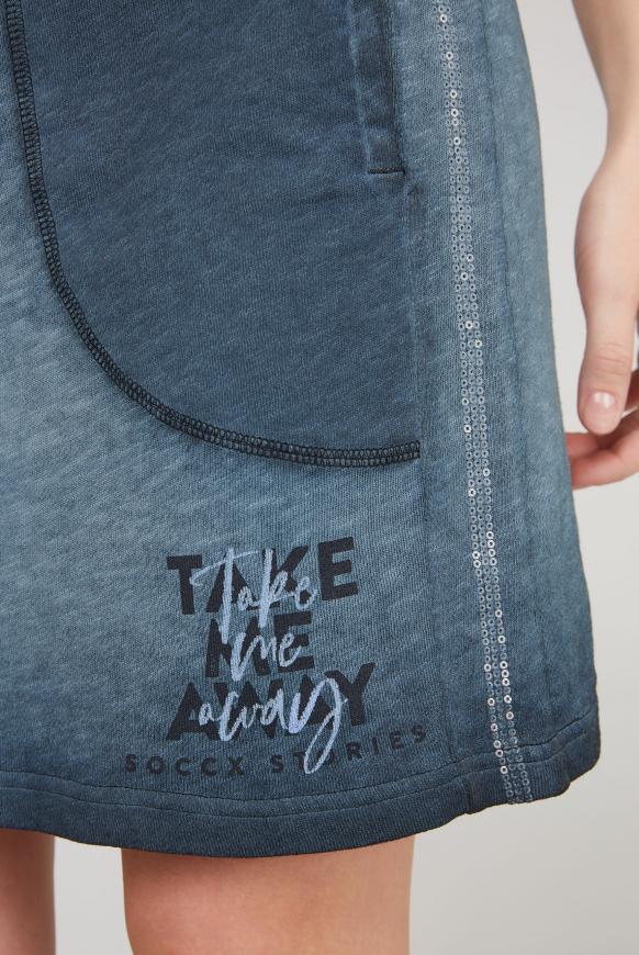 Sweatrock mit Paillettenstreifen und Print