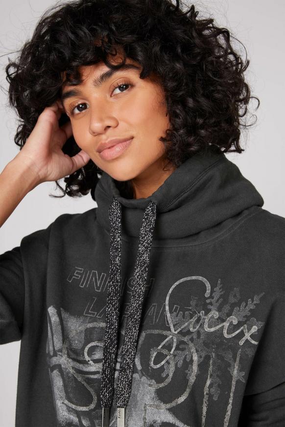 Sweatshirt mit hohem Kragen und Artworks