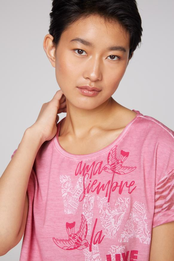 T-Shirt mit Artwork und Ausbrenner-Muster