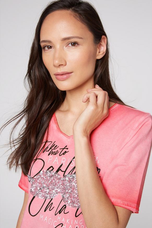 T-Shirt mit Pailletten und Used-Kanten
